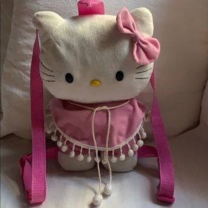 Hello Kitty Plush Backpack Pink Poncho & Pom Poms